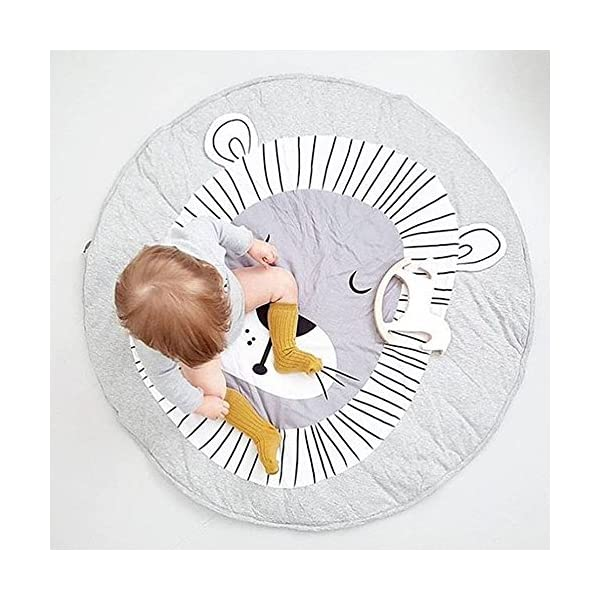 USTIDE Baby Rugs Creeping Crawling Mat Cartoon Sleeping Rugs, Baby Anti-Slip Game Mat 100% Cotton Floor Play Mat Blanket Play Environmental Carpet Kids Room Decor 37.4 x 37.4,Lion