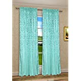 CaliTime Vintage Damask Floral Window Curtain Panel 56 X 84 Inches Heavy Thick Turquoise Color