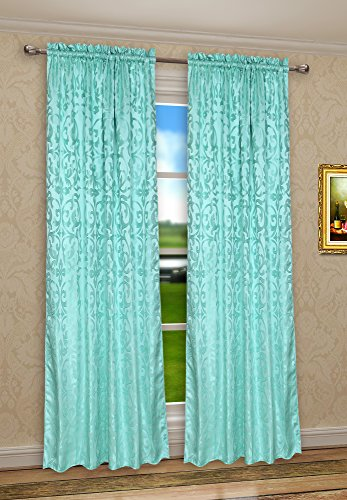 CaliTime Window Curtain Panel 56 X 90 Inches 1 PC, Vintage Damask Floral,  Turquoise