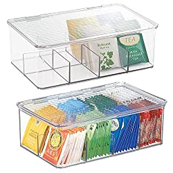 Mdesign Stackable Plastic Tea Bag Holder Storage Bin Box For Kitchen Cabinets Countertops Pantry Organizer Holds Beverage Bags Cups Pods Packets Condiment Accessories 2 Pack Clear
