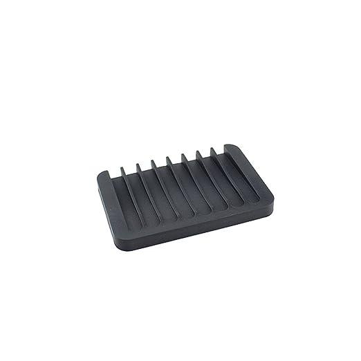 ounona Jabonera de silicona antideslizante escurreplatos de negro