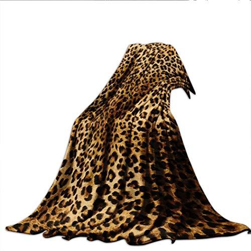 "Velvet Touch Ultra Plush,Brown Leopard Print Animal Skin Digital Printed Wild African Safari Themed Spot Printed Fleece Throw Blanket,300GSM,Super Soft and Warm,Durable Throw:30"" x 40"""