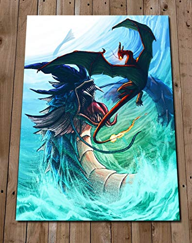(POKEMON Art Print Poster - GYARADOS vs CHARIZARD Illustration Painting - Pokemon Battle Art)