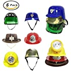 [Set of 6] Dress Up Pretend Play Hats Helmets for Kids – Halloween Costume Role Play Variety Pack (Police, Fireman, Construction, SWAT, Cowboy, Army)