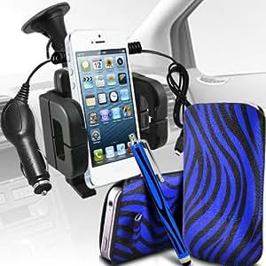 Nokia Lumia 510 Protección Premium de Zebra PU tracción Piel Tab Slip Cord En cubierta de bolsa Pocket Skin rápida Con Large Matching Stylus Pen, Micro 12v cargador de coche USB y soporte universal de la succión del parabrisas del coche Vent Cuna Azul y Negro por Spyrox