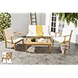 Safavieh Pat6717A Outdoor Set, Color Natural/Beige, Pack of/Paquete de 4