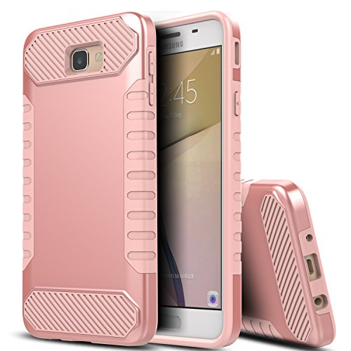 Samsung Galaxy On5 2016 Case,BSlvwg Impact Resistant Heavy Duty Hybrid Dual Layer Hard Back Cover Soft Silicone Inner Protective Case for Samsung Galaxy On5(2016)/J5 Prime/G570 - Rose Gold/Rose Gold