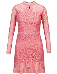 Bewish Womens Retro Floral Fitted Dress Round Neck Long Sleeve Lace Dress
