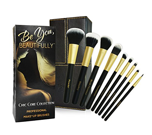 BEST SELLING Professional 8 Piece Makeup Brush Set with Designer Case Plus BONUS Stippling Brush. Hand-Made Powder, Foundation, Concealer, Eyeshadow B…