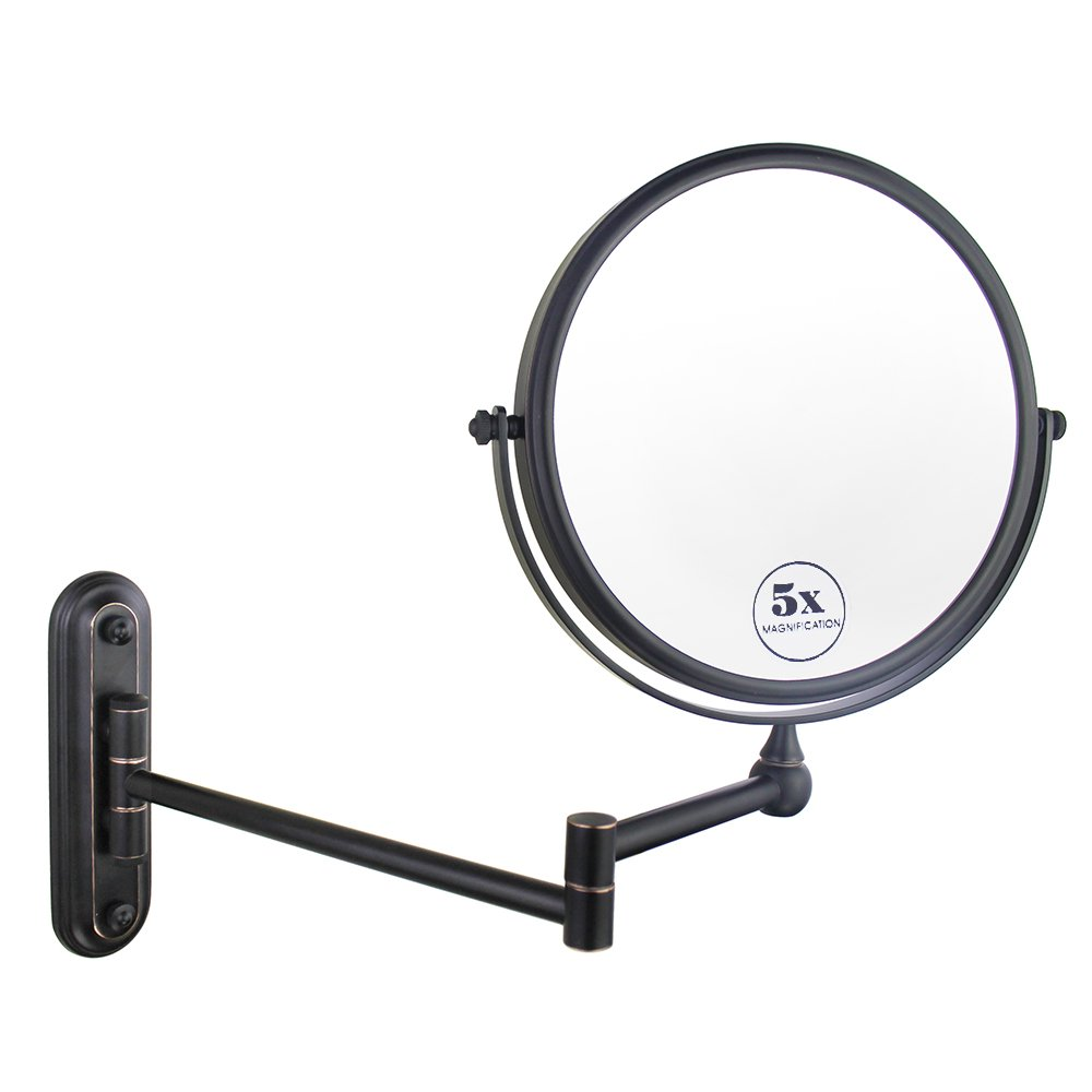 Gloriastar Wall Mount Makeup Mirror,Double Sided With 1X/5X Magnification,Oil-Rubbed Bronze, 8-Inch