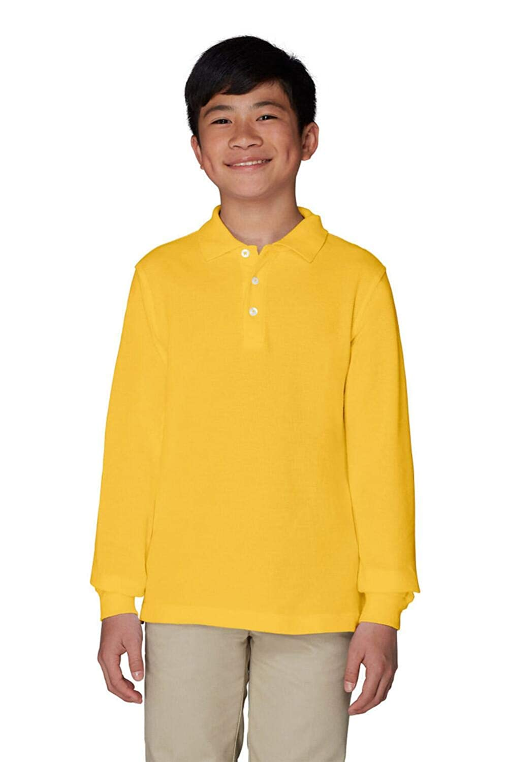 French Toast Young Men's Long Sleeve Polo SA9085Y