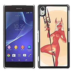 Paccase / SLIM PC / Aliminium Casa Carcasa Funda Case Cover - Devil Angel Woman Horns Nude Fire Sexy - Sony Xperia Z2 D6502 D6503 D6543 L50t L50u