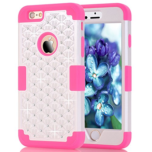 6S Plus Case, iPhone 6 Plus Case, iPhone 6S Plus Case, Speedup Diamond Studded Crystal Rhinestone 3 in 1 Bling Hybrid Shockproof Cover Silicone and Hard PC Case For iPhone - 5 Ipod Touch Moon Sailor Case