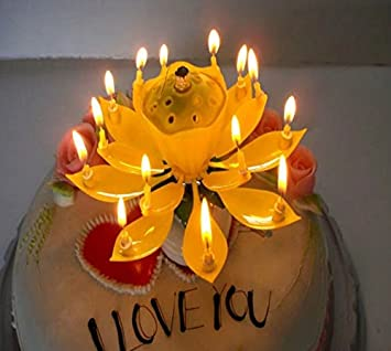 Once Lit An Indoor Firework Sparkles As The Flower Slowly Opens To Reveal A Candle On Each Petal At Same Time Rotates And Plays