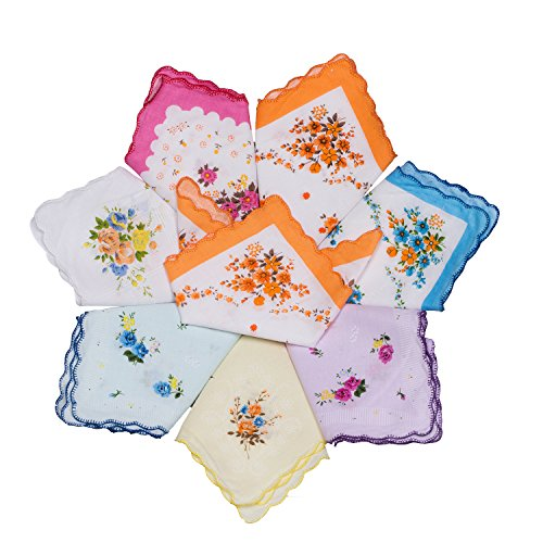 Star Heaven Women's 100% Premium Cotton Floral Prints Hankies Vintage Elegant Handkerchiefs Bulk (10 PCS)