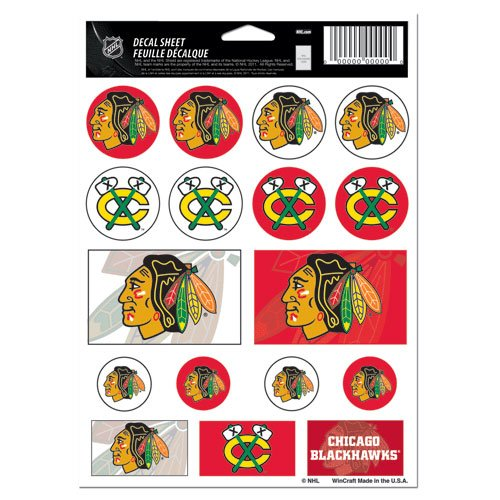Wincraft NHL Chicago Blackhawks Vinyl Sticker Sheet, 5'' x 7''