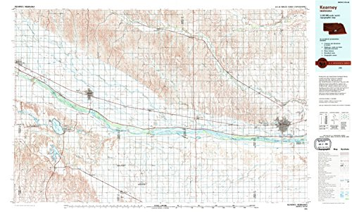 Kearney NE topo map, 1:100000 scale, 30 X 60 Minute, Historical, 1985, updated 1994, 24.1 x 40 IN - - Center Odessa City