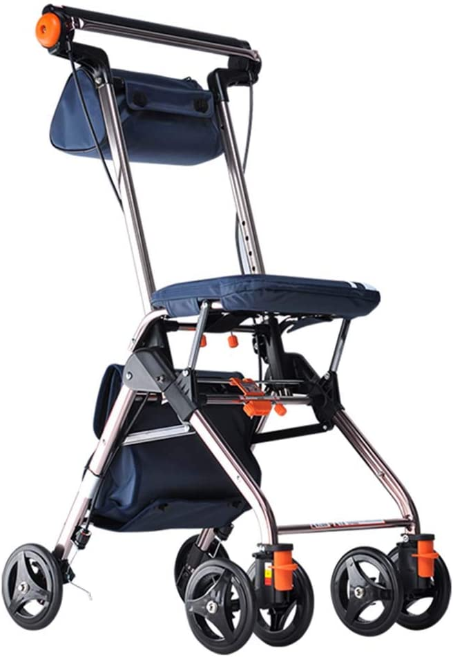 WYFC Ligero Plegable 4 (6) Andador de Ruedas con Asiento Acolchado, Frenos bloqueables, manijas ergonómicas y Bolsa de Transporte, Ayuda de Movilidad Limitada, Hombres y Unisex,Red