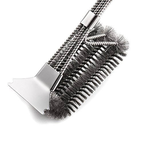 Deppon Grill Brush and Scraper for Grill, 18 Inch Stainless Steel Woven Wire 3 in 1 Grilling Cleaning Brush for Weber Gas/Charcoal Grill (Light Silver)
