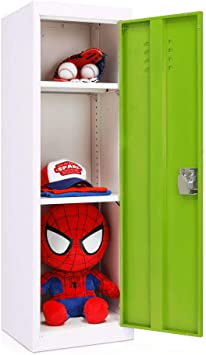 Superday Kids Metal Storage Locker Green Door 3 Tier Steel/Locker Lock and Key Safe Storage Kids Toy Gym Room Classroom Locker Keeper