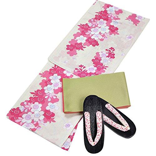 ファイアル天皇瞳浴衣 レディース コスパゆかた 3点セット クリーム色地 ピンク桜 N2792