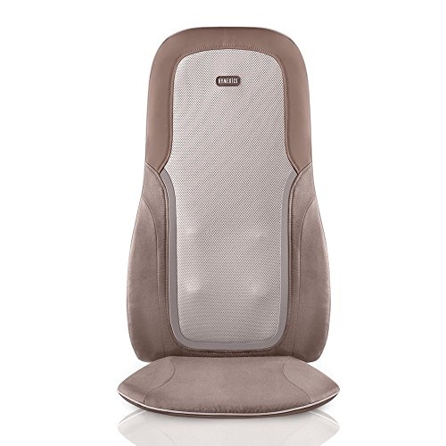 HoMedics, Quad Shiatsu Pro Massage Cushion with Heat, Zone Control (Targeted Spot, Full, Lower & Upper Back), 3 Massage Styles (Percussion, Kneading & Rolling), Remote & Integrated Strapping System (Back Massager For Chair Homedics)
