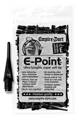 100 EMPIRE E-Point Puntas de Dardos 2 BA corto (negro) Empire Dart