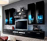 Concept Muebles Presto Modern Wall Unit/Entertainment Centre/Spacious and Elegant Furniture/TV Cabinets/TV Stands for Modern Living Room (Black)