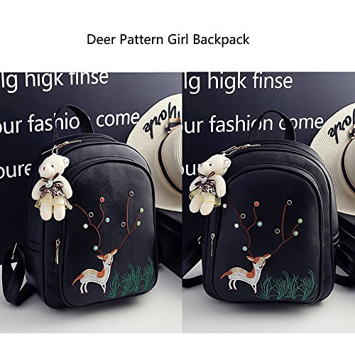 Card Shoulder Girl Backpack Bag School Teens Women and Backpack Book Bag Pattern include Black Deer School Holder UxCwgOq