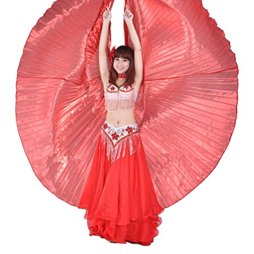 [2017 Mother's Day Gift Exotic Red Belly Dance Isis Wings Halloween Props(No Sticks)] (Viennese Waltz Costume)