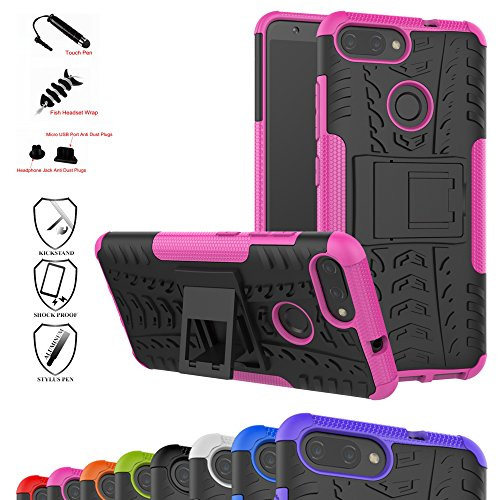 Zenfone Max Plus Case,Mama Mouth Shockproof Heavy Duty Combo Hybrid Rugged Dual Layer Grip Cover with Kickstand for Asus Zenfone Max Plus (M1) ZB570TL (with 4 in 1 Packaged),Pink