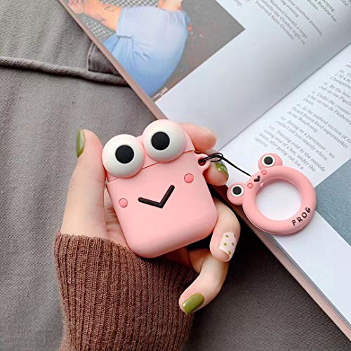 Airpods Case, Cute Airpods Cover, Cartoon Silicone Frog Shockproof Protective Case Cover with Ring Buckle Holder for Apple Airpods 2 & 1 Charging Case (Pink Frog)]()