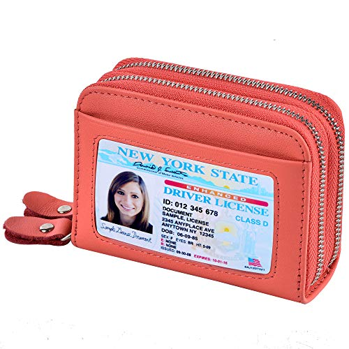 Accordion Wallet RFID Leather Card Wallet for Women Credit Card Holder (Coral Pink)