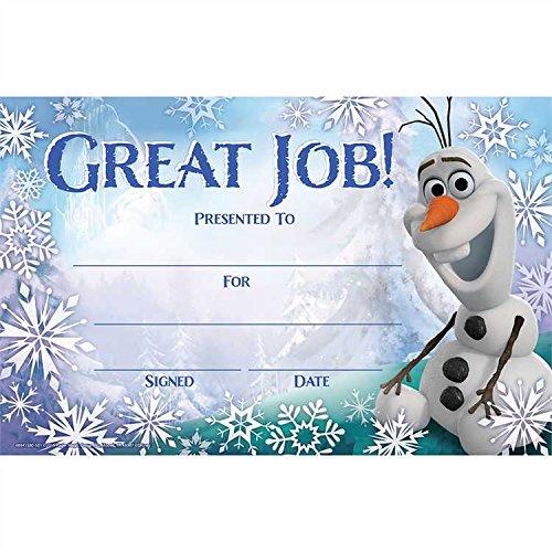 Eureka Licensed Disney Frozen Olaf Great Job! Recognition Award Pack of 36 (844158)