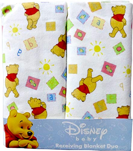 "Disney Winnie The Pooh Receiving Blankets. Two Pack Of Varied Prints and Styles. Boy 30"" x 30"" ... (Varied Style)"