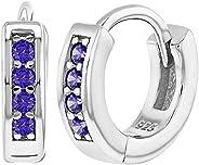 925 Sterling Silver CZ Small Hoop Earrings for Girls 0.39&