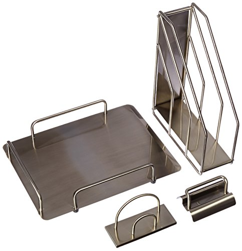 Organize It All 5-Piece Office Supply Standard Desktop Set - Brushed Nickel (Cube Quadrant Collection)