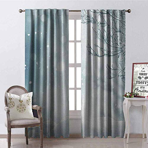 GloriaJohnson Winter Blackout Curtain Christmas Image Snow and Frosted Tree Snowflakes Winter Season Illustration 2 Panel Sets W52 x L84 Inch Slate Blue White