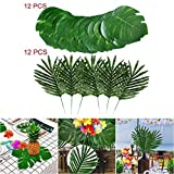 24 PCS Artificial Tropical Palm Leaves Plant Flowers for Hawaiian Luau Party Jungle Beach Theme BBQ Birthday Party Decorations Supplies