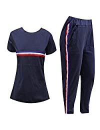 Rimi Hanger Women Short Sleeve Stripes Top and Bottom Set Tracksuit S/XL