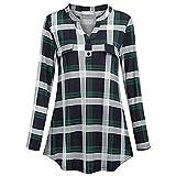 TnaIolral Women Shirt V Neck Floral Long&Half Sleeve Print Top Green