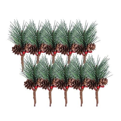 10pcs Artificial Pine Picks with Berries Small Artificial Pine Tree for Christmas Flower Arrangements Wreaths and Holiday Decorations