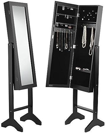 Beautify Rangement Bijoux avec Miroir sur Pied - Noir