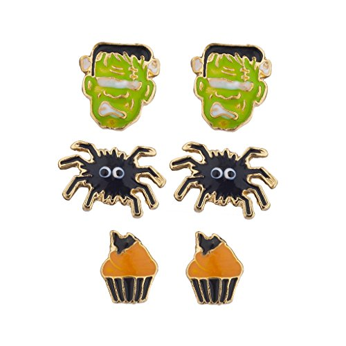 Lux Accessories Halloween Frankenstein Spider Cupcake Earring Stud Set 3pc for $<!--$8.95-->