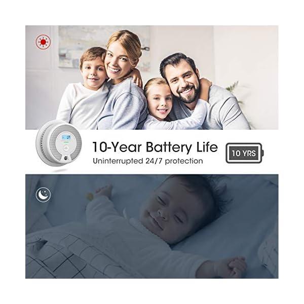 51BWbvrTVBL X-Sense Rauch- CO Melder 10 Jahrer Rauch- und Kohlenmonoxid-Melder, mit LCD Anzeige und Prüftaste, 360°Überwachung, Auto…