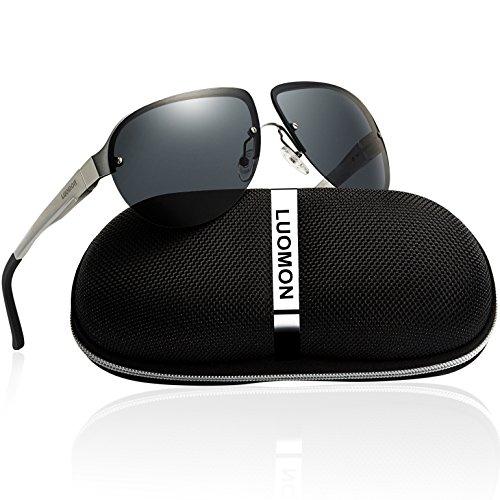 LUOMON Men's Polarized Shield Sunglasses Al-Mg Aloy Silver Frame/Grey Semi Rimless Lens Unbreakable Frame - Luomon Sunglasses