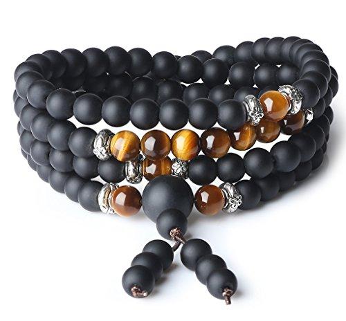 - AmorWing Tibetan 108 Mala Beads Brown Tiger Eye Matte Onyx Semi Precious Stones Bracelet/Necklace 6mm