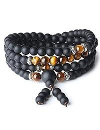 AmorWing 108 Beads Matte Onyx Semi Precious Stones Mala Wrap Bracelet Necklace