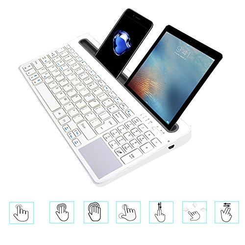 Keywin U-groove Multi Wireless Bluetooth with Touchpad Keyboard, Double Channel Design Full Function Keyboard, BT 3.0,Universal for Ipad Air Mini,Mac,Laptop,Ipad and Tablets PC Multi-Device (White) by Keywin (Image #3)