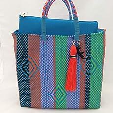 e0e5aab35 Bolsa Artesanal Mexicana tejida a mano incluye funda para iPad, en colores.